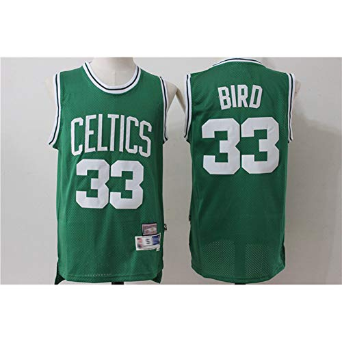 NBA Larry Bird # 33 Boston Celtics, Classic Retro Confortevole/Luce/Traspirante Ricamati Mesh Sport T-Shirt/Bicchierini regolati, Unisex Fan Swingman Jersey,A,XXL