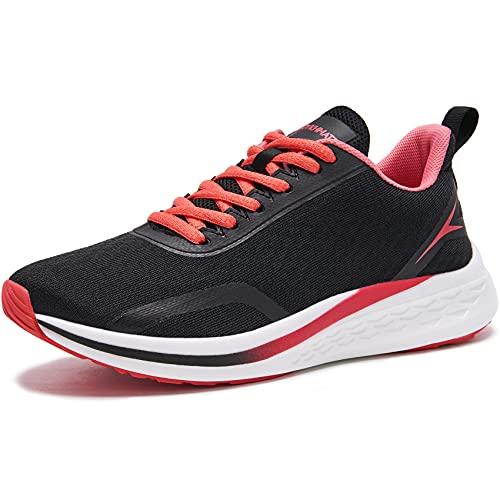 URDAR Scarpe da Ginnastica Donna Leggero Respirabile Running Basse Basket Sport Outdoor Fitness Sneakers Scarpe da Casual Sneakers (Nero Rosso,37.5 EU)