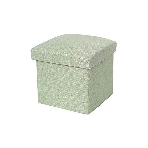 XINTU Reposapiés plegable multifuncional de algodón y lino, caja de almacenamiento otomanos plegable
