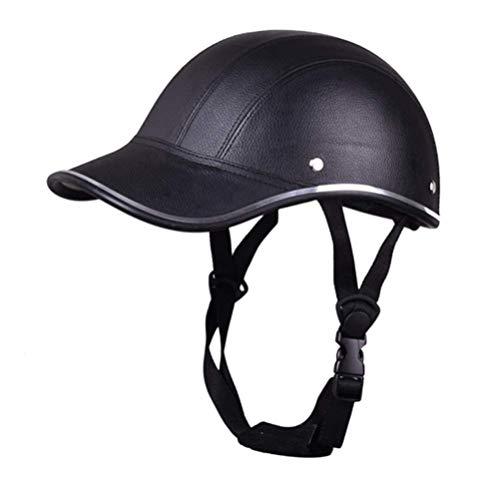 Baseballmütze mit Kinnriemen, ein Geschenk für Vater-Anti-UV-Schutzhelm Visier Fahrrad Fahrradhelm Erwachsener Kopfschutz Hut mit verstellbarem Gurt Halb geöffneten Gesichts-Motorrad-Sturzhelm,Schwarz