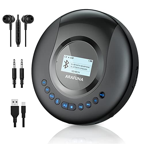 Reproductor de CD portátil con Bluetooth, ARAFUNA Reproductor de CD con Bluetooth para coche, reproductor de CD Bluetooth recargable...