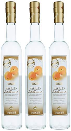 DOLOMITI Marillen Edelbrand 40% vol. | Marillenbrand | Obstbrand aus fruchtigen Marillen | 3 x 0.5 Liter