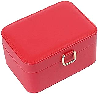 Jewelry Box Small Portable Mini Simple Korean Bracelet Earrings Earrings Ring Jewelry Storage Box (Color : Red)