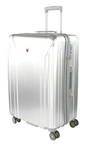 Traveller Hartschalenkoffer New York 67 x 46 x 26 cm - 60L - 4 Rollen Reisekoffer, Silber mit TSA Zahlenschloss