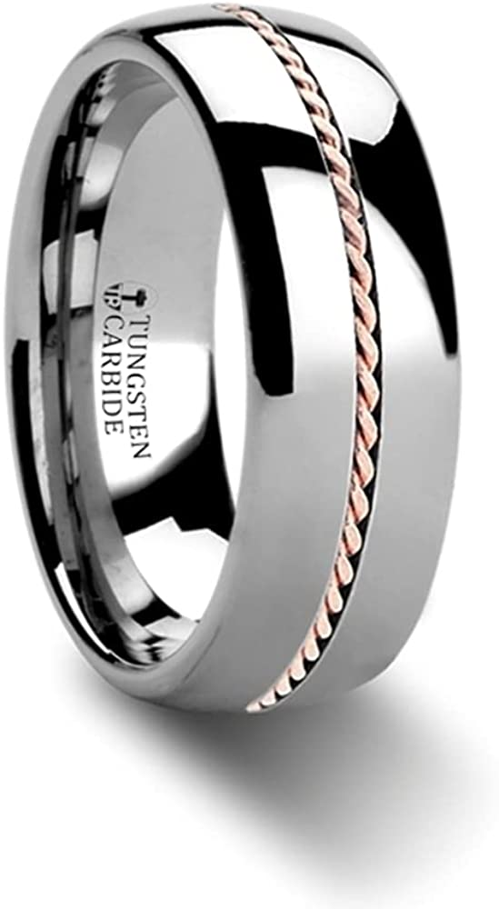 Mens Comfort Fit -Braided 14k Rose Gold Inlay Domed Tungsten Carbide Wedding Ring - 6mm 8mm Wide - Style Name: ROSSMOOR