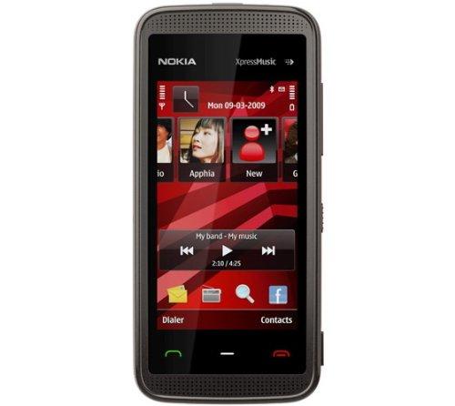 Nokia 5530 XpressMusic Smartphone (WLAN, Touchscreen, 3D-Surround-Sound, Kamera mit 3,2 MP) Black red