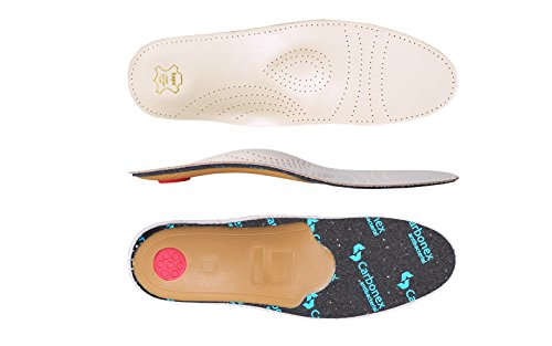 Kaps Premium Schuheinlagen Relax Carbonex Limited Einlegesohlen aus pflanzlich gegerbtem Kalbsleder mit Aktivkohle und Carbonexschaum - Pelotte, Mittelfußstütze und Fersenpolster - Größe 45