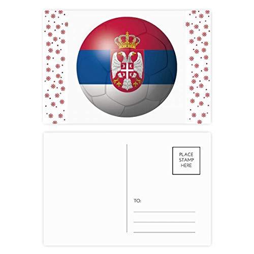 Servië Nationale Vlag Voetbal Voetbal Kerstmis Bloem Ansichtkaart Thanks Card Mailing 20 stks