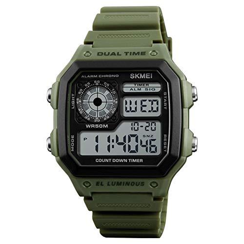 JTTM Reloj Digital, para Hombre, para Actividades Al Aire Libre, Deportivo, Militar, Sumergible, Cronógrafo, Cuenta Atrás, Luces LED, con Alarma, De Goma Negra,Army Green