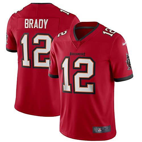 LKJHG Tampa Bay 12# Brady American Football Jersey Rot Kurzarm Polyester Rugby Shirt für Herren Jugend mit Stickerei S-XXXL M