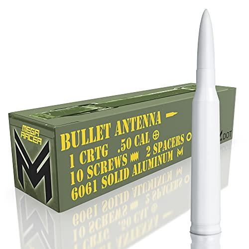 Mega Racer White 50 Cal Bullet Style Antenna for Trucks, Cars & SUVs - 5.5 Inch...