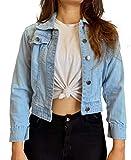 Shocknshop Full Sleeves Comfort Fit Regular Sky Blue Denim Turn-Down Jacket for Women