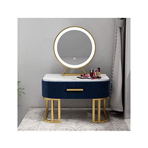 RKRXDH Mesa Tocador De Maquillaje Y Taburete Mesa Escritorio Cosmética Tocador con Espejo con Iluminado Espejo Tocador (Color : Blue, Size : 40 * 40cm)