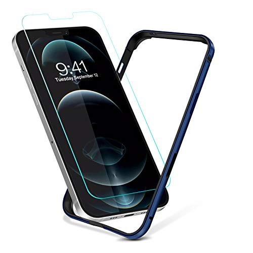 Bumper Designed for iPhone 12 Pro Max Case, Metal Slim Hard Frame Armor with Soft Inner Bumper with Tempered Glass Screen Protector [Zero Signal Interference] [Raised Edge Protection] (Blue)
