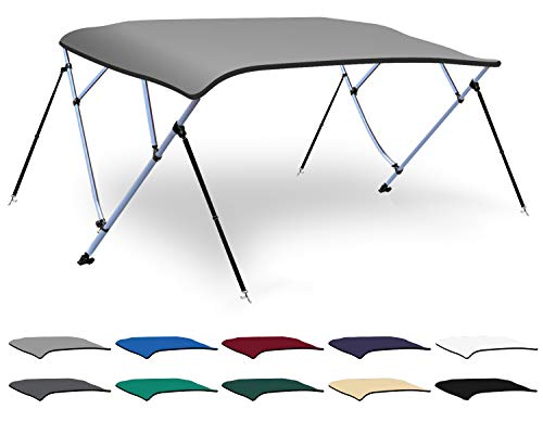 XGEAR 3-4 Bow Bimini Top Boat Cover with 4 Straps, Mounting Hardwares and Storage Boot, Full Size in Color Grey, Pacific, Navy, Black, Beige, Green, White (Light Grey, 4 Bow: 8'L x 54' H x 61'-66' W)