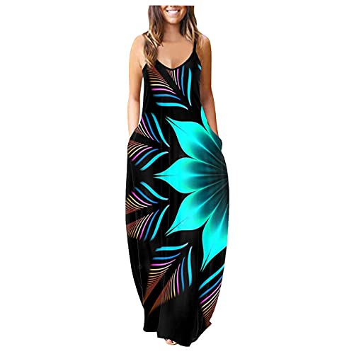 Vestido maxi para mujer, estilo informal, holgado, sin mangas, estilo bohemio, estampado bohemio, línea A azul XXL