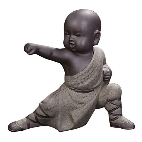 IMIKEYA Mini Ornements de Moine Kung Fu Statue de Bouddha Thé Animal Zen Jardin Thé Plateau Figurine pour Kung Fu Thé Plateau Voiture Décoration de Bureau à La Maison (Gris)