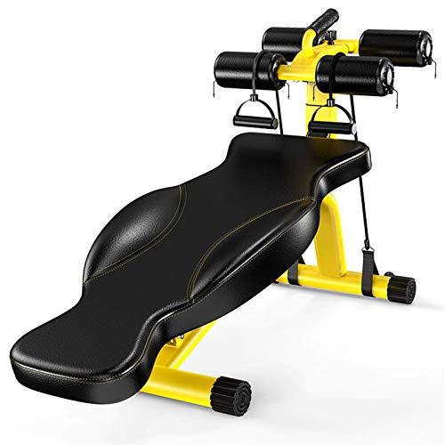 Madeinely Banco de pesas plegable para sentarse, abdominal, muscular, con 4 modos, ajustable, con ruedas, gimnasio, equipos de fitness, bancos de fitness (tamaño: 90 x 30 cm, color: amarillo)