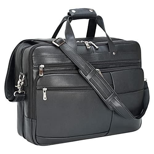 Polare 18' Napa Leather Briefcase For Men Business Travel Case Messenger Bag Fits 17.3' Laptop Large (Black)