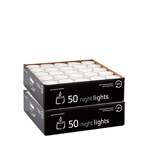 Qult Farluce(TM) Nightlights weiß - Teelichter in Kunststoffhülle und Premiumqualität - Rußfrei - ca. 8 Stunden Brenndauer - Gastro Großpackung - Sparpack - unbeduftet, Teelichter:100 Nightslights