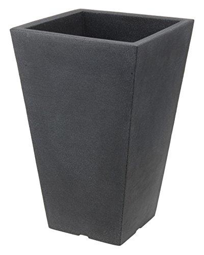 Spetebo Kunststoff Pflanzsäule anthrazit 55 cm - Blumenkübel Trapezförmig - Pflanztopf Pflanzkübel