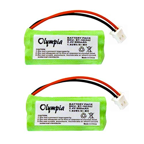2 Pack Replacement Battery for AT&T CRL82212 Cordless Phone (800mAh, 2.4V, NI-MH)