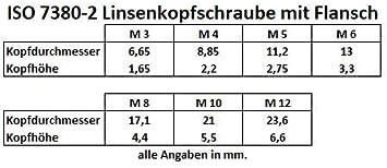 Flanschschrauben mit Innensechskant //// EHK-Verbindungstechnik M 8 x 22 25 St/ück Linsenkopfschrauben mit Flansch ISO 7380//2 M3 M4 M5 M6 M8 M10 M12 Edelstahl V2A