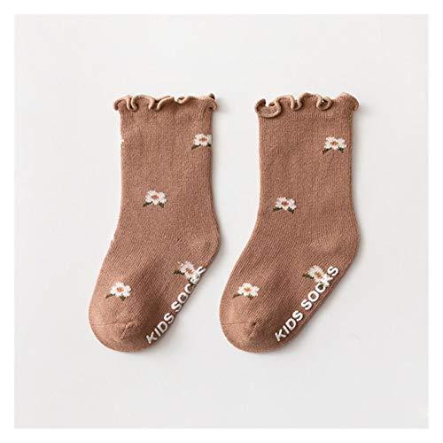 chaussette 0-5 años niños pequeños chicas calcetines con frilidad algodón suave baby tobillo calcetín de flor patrón niños calcetines antideslizante bebé ( Color : Brown , Size : XS (0 To 6 Months) )