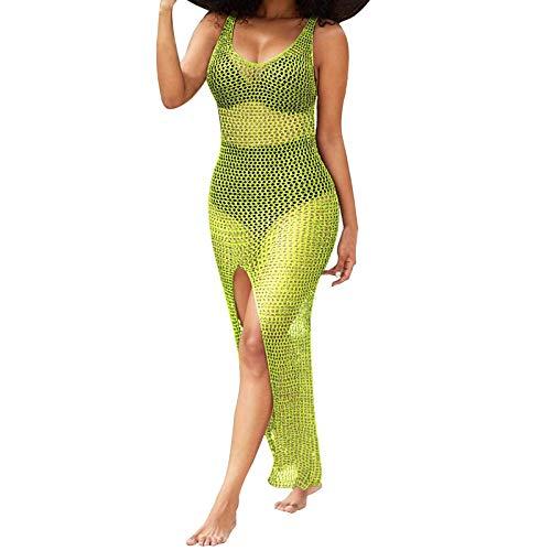 Julhold Blusa para mujer de verano sexy traje de baño cubierta Ups Sheer Crochet Beach Bikini Maxi vestidos, verde, L