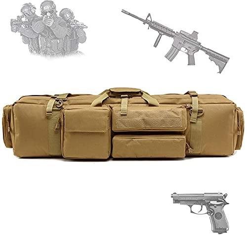 Bolsa para Doble Rifle, Bolso Táctico de Oxford Impermeable para Fusil Escopeta Larga, Compartimiento con Cierre para Cargador Munición Accesorios (Color : Khaki)