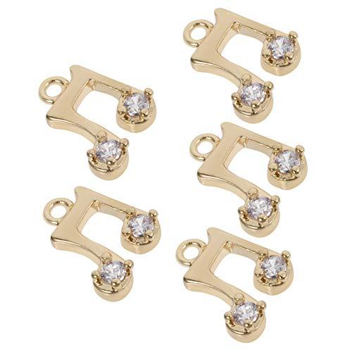 Artibetter 5 Piezas de Símbolos de Notas de Instrumentos Musicales para Diamantes de Imitación Joyería DIY Pendientes Colgantes Pulsera Amuletos Suministros Decorativos