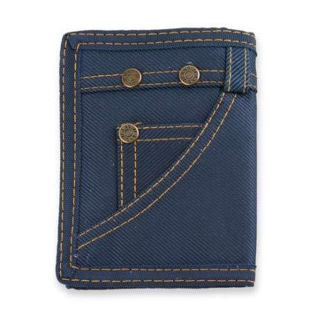 Cartera Hombre Juvenil de Lona Velcro con Tarjetero RFID Aluminio diseño Pantalon Vaquero Jeans,Cremallera Interior y Compartimento Transparente para DNI