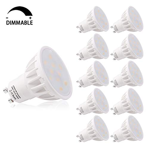 LOHAS GU10 LED Lampe, 6W Dimmbar LED GU10 Ersatz für 50W Halogenlampen, Warmweiß 3000K, 500lm, CRI>80, 120 Grad Abstrahwinkel, LED Birnen, LED Leuchtmittel, 10er Pack