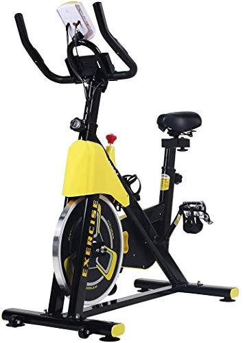 WGFGXQ Bicicleta de Ejercicio con Control magnético para Interiores Manillar y Asiento Ajustables, sensores de frecuencia cardíaca y computadora de a Bordo para Lectura de Velocidad, Distancia, Tie
