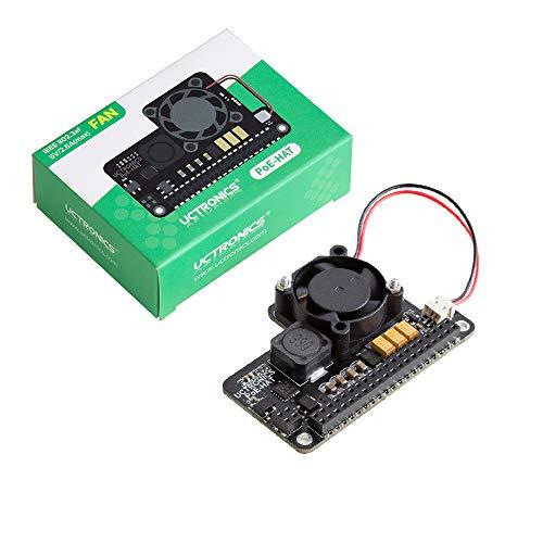 UCTRONICS PoE HAT para Raspberry Pi 4, Mini Power Over Ethernet Expansion Board para Raspberry Pi 4 B 3 B+, con ventilador de refrigeración
