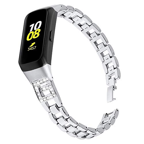 Tencloud Metall-Armbänder kompatibel mit Samsung Galaxy Fit R370, Ersatz-Edelstahl-Armband mit Strass für Galaxy Fit Fitness Tracker (Silber)