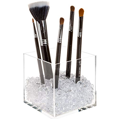 Makeup Brush Holder Organizer with Beautiful Clear Diamonds - Premium Acrylic Cube with 2 Sizes Acrylic Diamonds to Store Your Makeup Brushes with Style