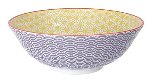 Tokyo Design - Star Wave - Cuenco de Ramen Bowl / Cuencos de pasta, multicolor, diámetro 21 cm, aprox. 1100 ml, porcelana asiática - Diseño japonés con patrones coloridos (amarillo/morado).