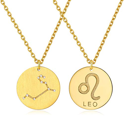 Leo Pendant Necklace 18K Gold Plated Constellation Jewelry Zodiac Star Coin Necklaces Birthday Gifts with Box