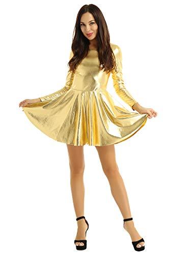 iEFiEL Wetlook Damen Kleid Langarm Partykleid A-Linie Skaterkleid Rundhals Lederkleid Clubkleid PVC Faltenrock Minikleid S-L Gold L