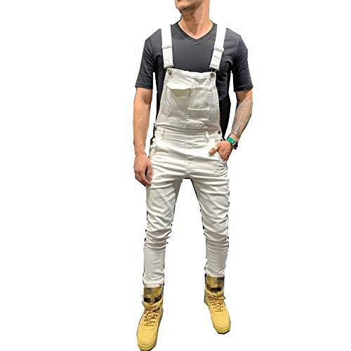 Fansu Peto Jeans Monos Hombres, Denim Jeans Bib Overoles Pantalón Vaqueros de Mono para Hombre Pantalones de Bolsillo Rotos Mezclilla Jumpsuit Casual (S,blanco)