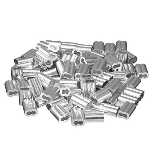 Fiween 100PCS 0,12 Zoll (3,0 mm) Durchmesser Drahtseil Aluhülsen Clip Anschlüsse Kabel Crimps