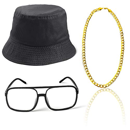 Beelittle 3pcs 80er / 90er Jahre Hip Hop Kostüm Kit Old Style Coole Rapper Outfits - Bucket Hat übergroße schwarze Sonnenbrille Gold Plated Chain (A)