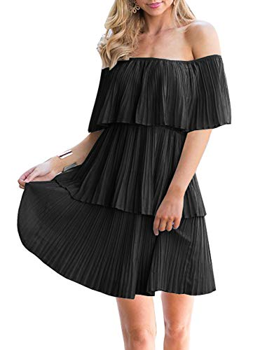 Soesdemo Women's Casual Off The Shoulder Sleeveless Tiered Ruffle Pleated Party Cocktail Dress Black