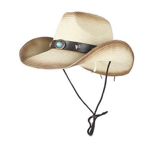 Xuguiping Western Cowboy Streuhoeden Heren zomer Stroh Cowgirl Party Kostuum Crimpen Western Hoed Sombrero Hombre Cowboyhoeden voor heren 56-58 beige
