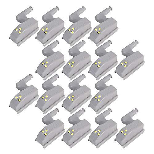 Dasing 16 unidades de bisagras con sensor de luz LED para armarios de cocina, armarios, luces nocturnas, salón/dormitorio/armario