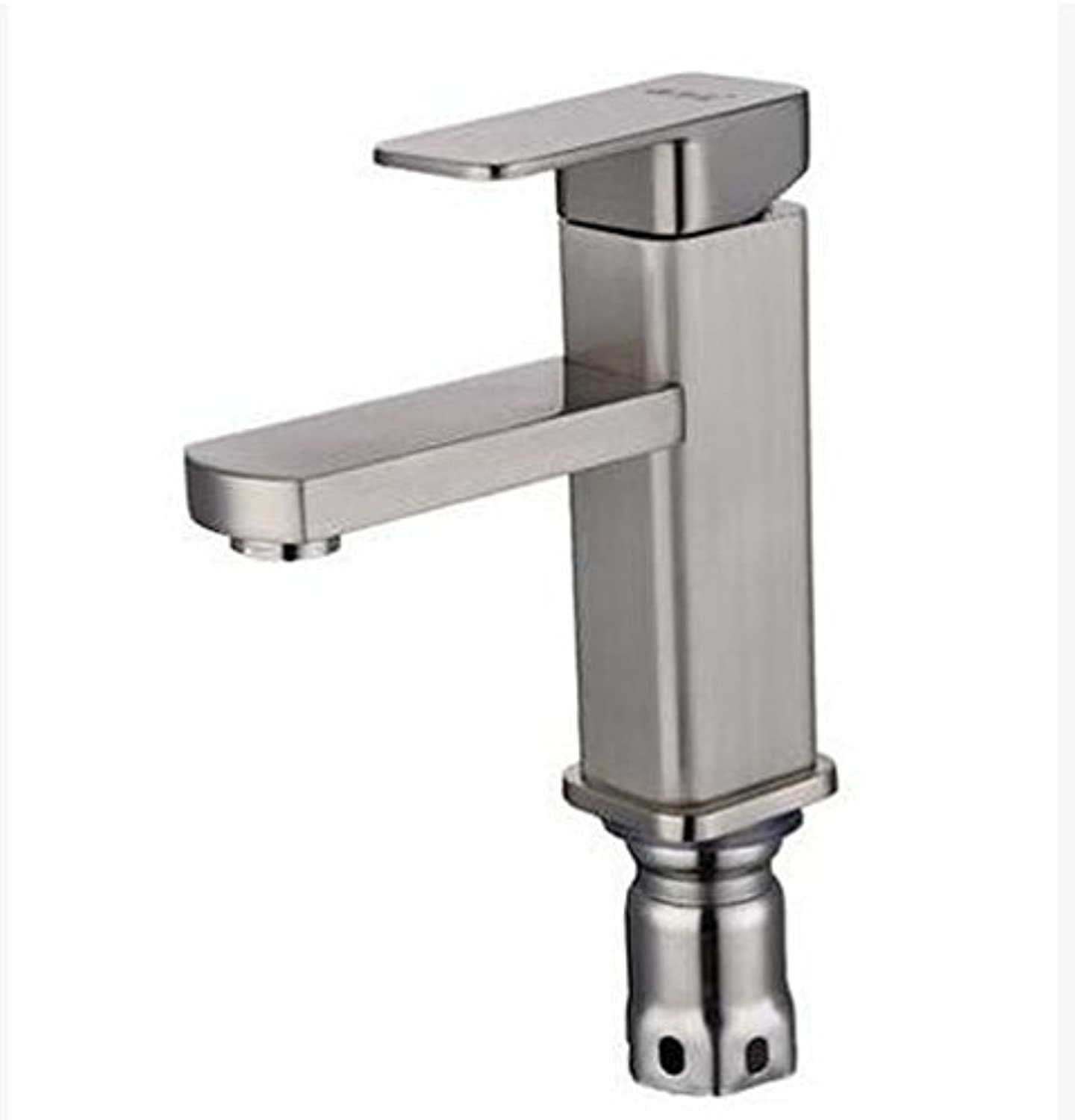 SunZIThe Xin Rui bathroom single hole copper cold washbasin faucet bathroom cabinet basin faucet ceramic basin,Stainless steel wire drawing square faucet (without pipe)