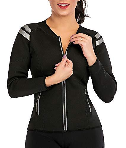 Sauna Langarm-Shirts Damen Neopren Hemden Sport Jacke Body Shaper Schweiß Fett zu verbrennen Bauch Abnehmen Hemde Tank Top für Fitness Yoga Reißverschluss