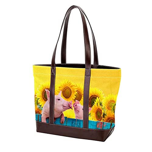 NaiiaN Geldbörse Shopping Handtaschen Lustiges Schwein, das an einem Zaun hängt Leichter Gurt für Mutter Frauen Mädchen Damen Student Einkaufstasche Umhängetaschen