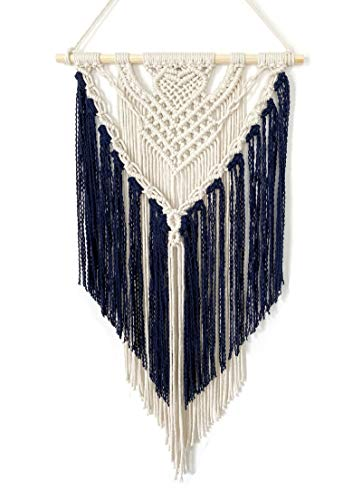 Youngeast Handmade Macrame Wall Hanging Art Home Décor 31 x 16 inches Navy
